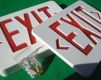 Emergency Exit Sign with Bulb,Hardware and Extra Panel