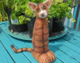 Bengal cat, needle felted cat, Home Decor, collectible cat, cool cat, Benjie the cat, felted pet cat, striped cat. spotted cat
