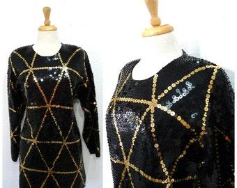 Vintage Sequin Black Tunic Top Mini dress L'EAU VIVE chevron shirt blouse 80s beaded Hong Kong S/M