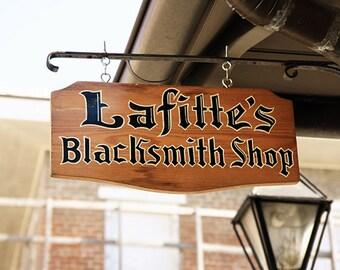 "New Orleans ""Lafitte's Blacksmith Shop Sign"" Photograph. French Quarter  Print. Cajun, Creole, Mardi Gras, Wall Art, Home Decor."