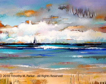 Abstract Seascape • Contemporary Landscape and Seascape Painting Reproduction • TWO SAIL HORIZON • Abstract Seascape Art