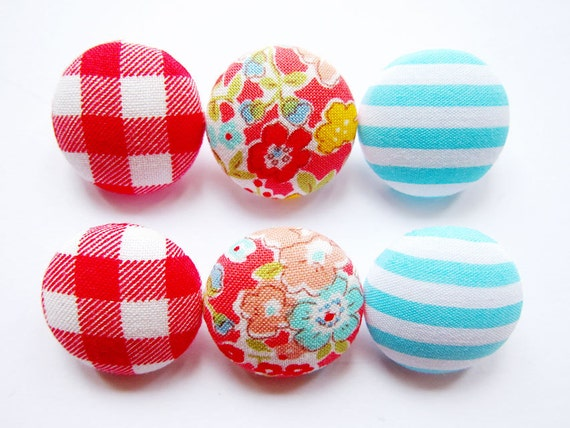 Sewing Buttons / Fabric Buttons - 6 Medium Fabric Buttons Set - Mix & Match in Red and Cyan