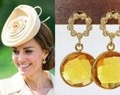 Kate Middleton Genuine Citrine Pave Earrings