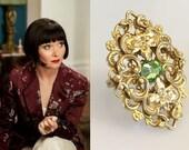 SALE! Phryne Fisher Gold Filigree Peridot Crystal Art Deco Ring- r717