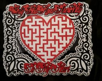 Heart Maze Card Cutting File, DXF,SVG,SCAL,Mtc,ScanNCut,Cricut,Cameo,Silhouette