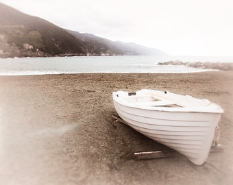 Italy Photograph Cinque Terre, Monterosso, Nautical Wall Art Print, White Wall Decor, boat, beach, travel photography, neutral home
