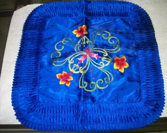 2 Chinese Accent  Pillow cover shams Cobalt   Blue Embroidered  red flowers Vintage on sale