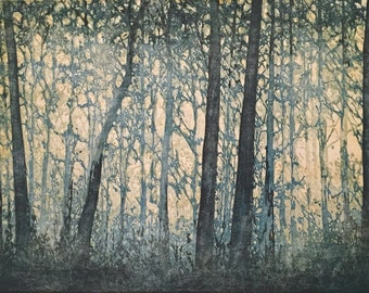 Original Limited Edition Fine Art Woodblock Print - Forest No. 9 hand-pulled moku haga fine art print