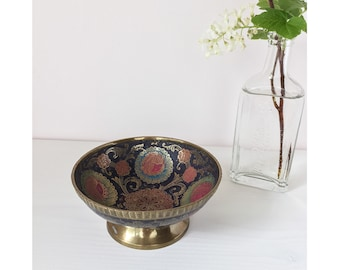 Vintage Handmade Painted Brass Dish - India Brass Pedestal Bowl - Small Trinket / Ring Dish - Boho Decor
