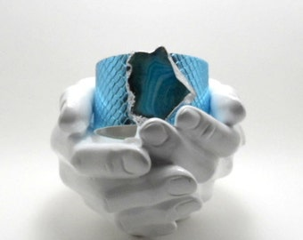 """leather cuff bracelet  - turquoise alligator embossed leather with agate - 1.5"""" wide"""