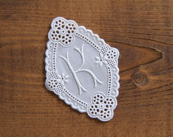 Vintage 2.7 inch cotton lace monogram letter K - hand crafter supply wedding decoration