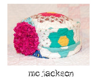 hat / mo one of a kind chapeau made outta antique grandmorther's flower garden quilt