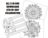 All 3-4th of July Celebration in One, Adult coloring pages