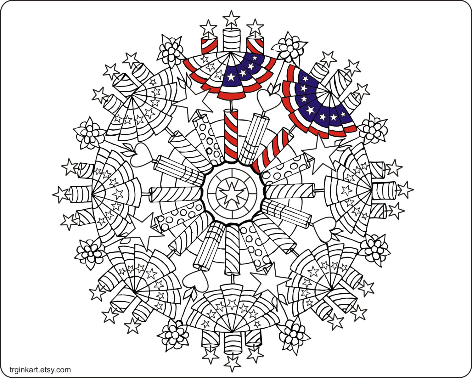 4th of july fire crackers adult coloring page for 4th of july coloring pages for adults