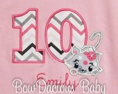 Kitty Birthday Shirt, Cat Birthday Shirt, Any Age, You Choose Fabrics and Font
