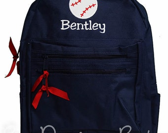 Boys Backpack, Baseball Backpack, Custom Boy's Backpack Monogrammed, Choose Your Own Colors, Personalized Backpack