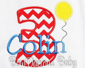 Balloon Birthday Shirt, Boys Birthday Shirt, Personalized Number Birthday Balloon Shirt, Birthday Boy Shirt, 3rd Birthday Shirt, Any Age
