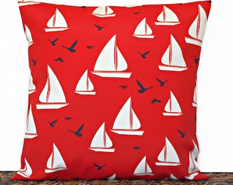 WEEKLY SPECIAL 18.00 Nautical Pillow Cover Cushion Sailboats Seagulls Red White Navy Blue Outdoor Indoor Coastal Beach Decorative 18x18