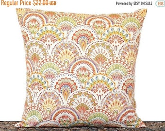 Christmas in July Sale Art Deco Pillow Cover Cushion Geometric Fans Orange Lime Green Mustard Red Blue Decorative Repurposed 18x18