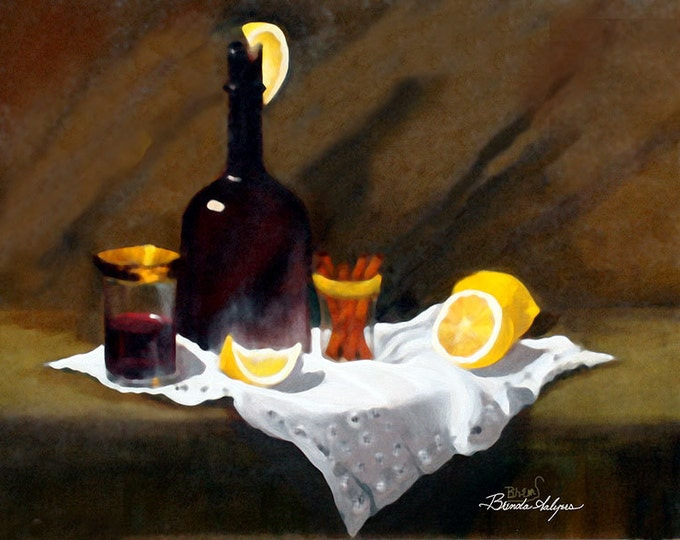 Wine in a Bottle Brenda Salyers Fine Art Print on Paper or Canvas