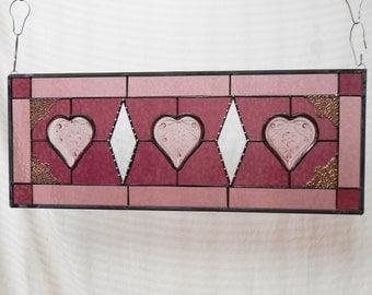 Stained Glass Panel, Sandwich Glass Hearts Stained Glass Transom Window, Antique Vintage Stained Glass Window Valance, Stained Glass Dishes