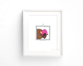 Buffalo in a Turban (100 Animals in Hats Series) - Giclee print of original collage illustration - 8 x 10in