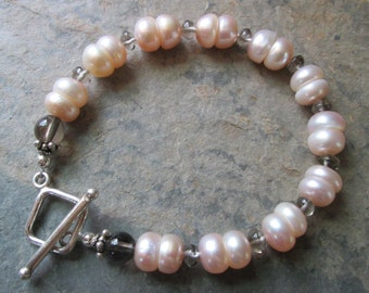 Sterling Silver, Smoky Quartz & Freshwater Pearl Bracelet - Zen Style, Wedding Jewelry