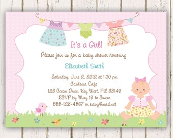 Clothesline Baby Shower Invitations, Baby Girl, Pastel - Printed Invitations