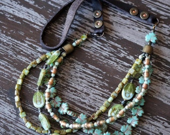 Turquoise and Green Multi Strand Necklace - Boho Necklace - Leather Necklace - Green Necklace - Bohemian Necklace - Bead Soup Jewelry