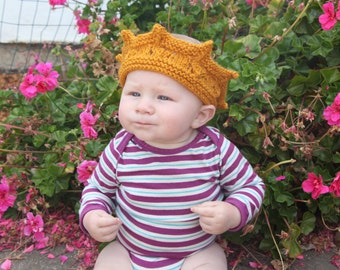 Hand knit crown for kids or babies - dress up - costume