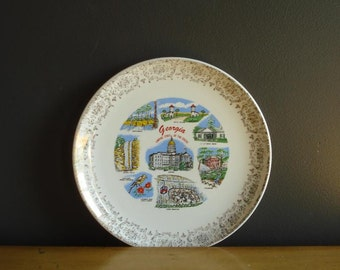 On My Mind - Vintage Souvenir Plate - Georgia Love - GA State Plate