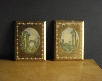 Ornate Scenic Wall Plaques - Set of Vintage Illusrations - Made in Italy - Florentine Plaques