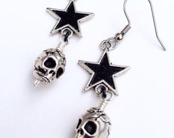Sugar Skulls and Black Stars Earrings, Star and Skull Earrings