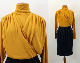 1980s Dress Knit Mustard Gold Navy Pencil Skirt Draped Bodice Mock Turtleneck Fitted Waist Long Sleeve Two Tone Mini Vintage 80s Small S