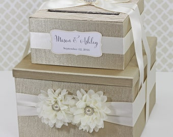 2 Tier Wedding Card Box Champagne Gold Ivory Lace Flower Customizable Money Holder