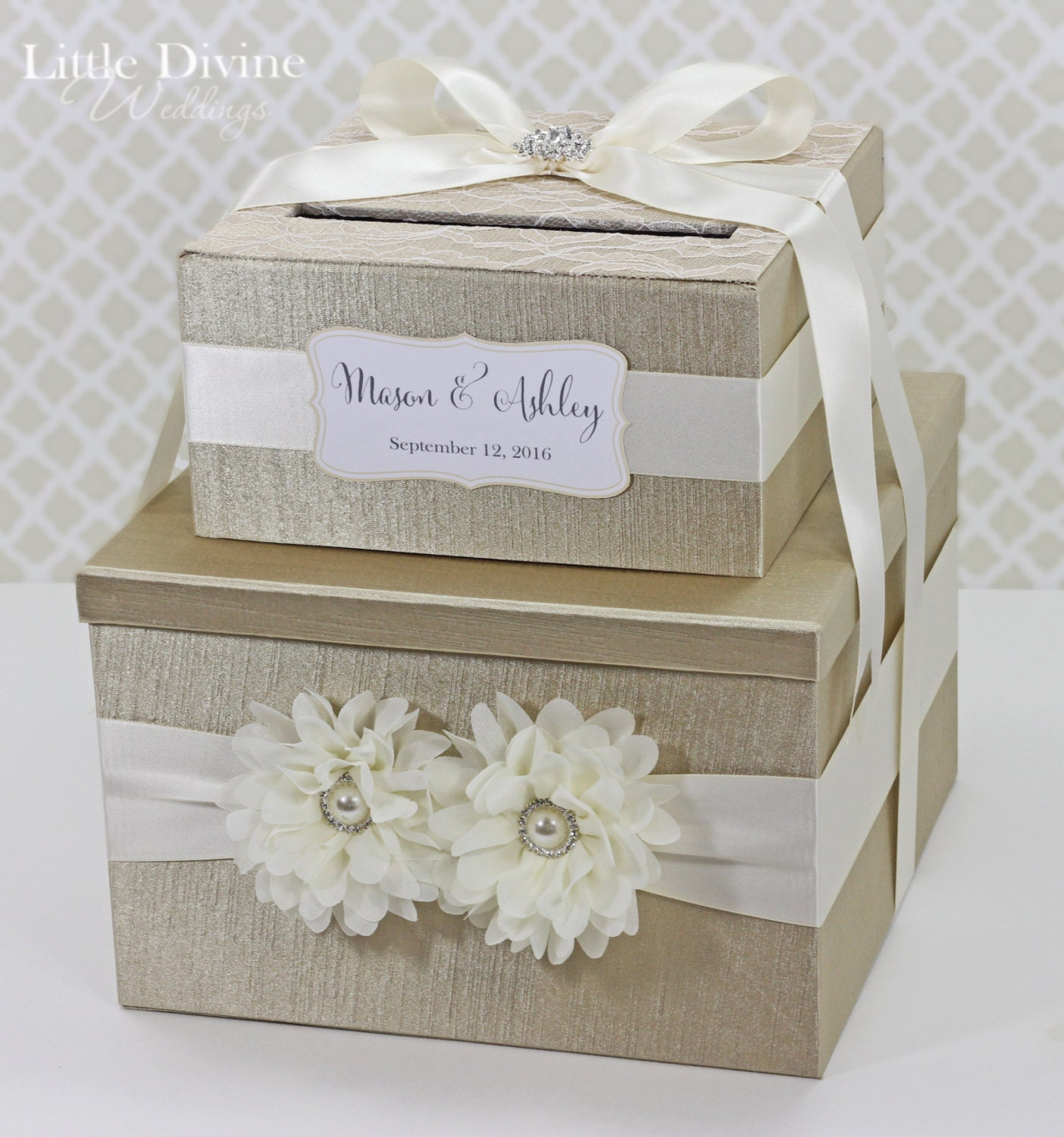 Card Box For Wedding: 2 Tier Wedding Card Box Champagne Gold Ivory Lace Flower
