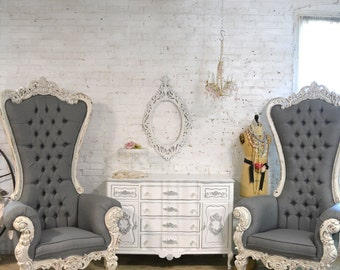 Painted Cottage Chic Shabby French Upholstered Tufted Chair