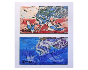 Water Music and RWB Magnet Set water colors red white blue abstract art collectible magnets