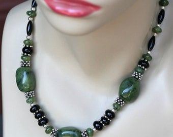 17 inch Green Jade Necklace, Nephrite Jade Necklace, Jade Statement necklace, chunky necklace, Jade and sterling silver necklace
