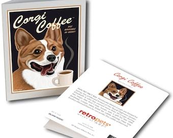 "Corgi Cards ""Corgi Coffee"" 6 Small Greeting Cards by Krista Brooks"