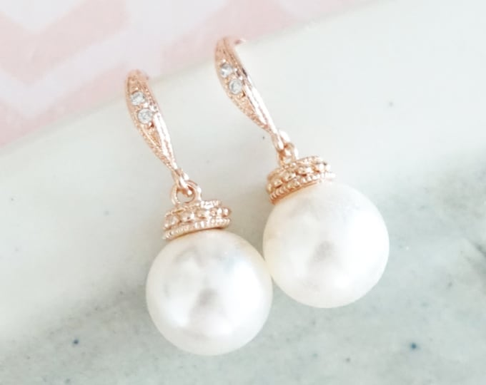 Wanika - Simple Rose Gold Pearl Earrings with Swarovski Pearl Drop, Champagne Gold Bridesmaid earrings, gifts for her, chic, everyday pretty