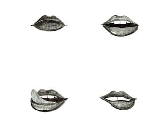 minimalist ink print: Lips, Fill