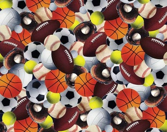 Kanvas By Benartex - All Sports - Sports Balls - Multi - Fabric by the Yard 8366B-99