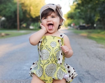 Baby and toddler polka dot ruffle romper yellow floral
