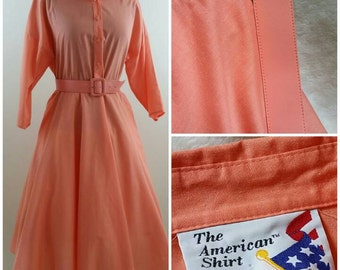 50s Style Shirt Dress by the American Shirtdress Company, Lightweight Fabric, Perfect Coral Orange for Summer, Vintage 80s does 50s Dress