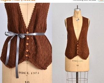 45% OFF SALE.... vintage 1970s Pierre Cardin vest  • brown vest • 70s cotton vest • medium large