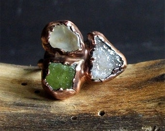Raw Crystal Ring Rough Stone Jewelry Copper Tourmaline Ring Topaz Ring Druzy Quartz Copper Gemstone Size 7 Birthstone Organic Ring
