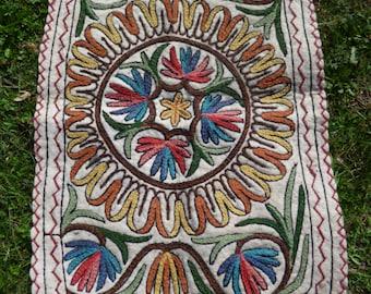 Two Small Pretty Felt Rugs Namda Kilim Wool. Kashmir Hand Embroidered. 3 x 2 ft Tapis Mat