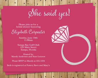 Engagement Ring, Bridal Shower, Invitations, Pink, Gray, Magenta, Wedding, Party, 10 Printed Invites, FREE Shipping, SSYEP, She Said Yes