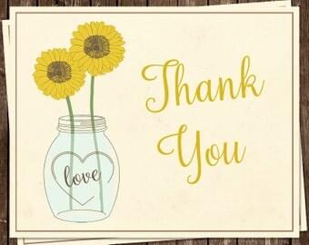 Sunflower, Thank You Cards, Mason Jar, Bridal, Wedding Shower, Yellow, Country, Rustic, Chic, Shabby, 24 Folding Notes, FREE Shipping, SUMAJ
